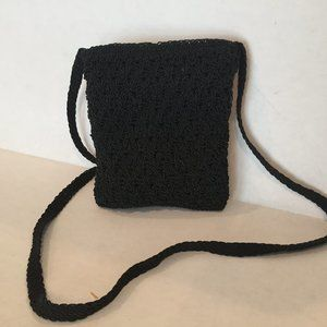 Chateau Brand Crochet Hand Bag Cross Body Black